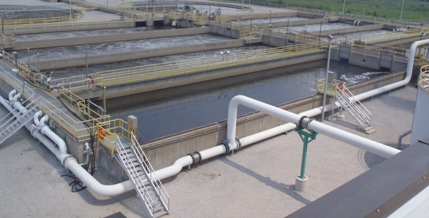 Aeration Tanks - Air flows through the white pipes to the aeration tanks to add oxygen and mix the water